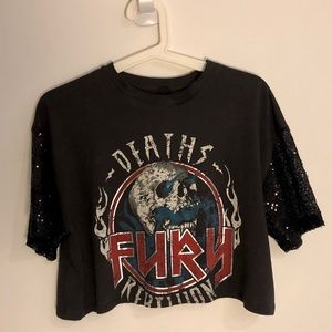 Graphic Tee w/ Sequin Sleeves